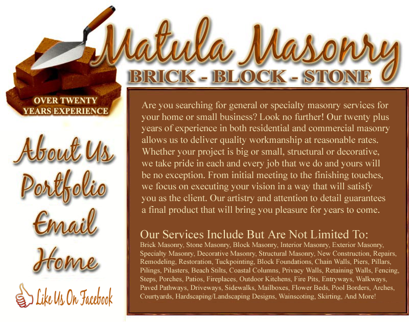 Brick Block And Stone Masonry In Waveland Mississippi